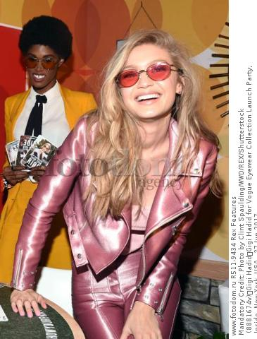 Mandatory Credit: Photo by Clint Spaulding/WWD/REX/Shutterstock (8881674v) Gigi Hadid Gigi Hadid for Vogue Eyewear Collection Launch Party, Inside, New York, USA - 27 Jun 2017