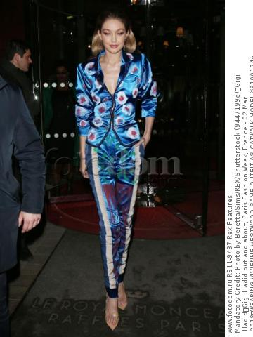 Mandatory Credit: Photo by Beretta/Sims/REX/Shutterstock (9447199e) Gigi Hadid Gigi Hadid out and about, Paris Fashion Week, France - 02 Mar 2018 WEARING VIVIENNE WESTWOOD SAME OUTFIT AS CATWALK MODEL *9100124q