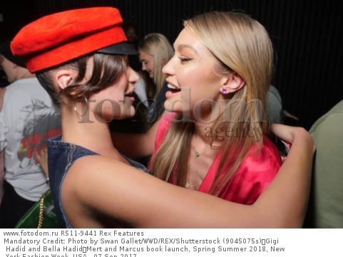 Mandatory Credit: Photo by Swan Gallet/WWD/REX/Shutterstock (9045075s) Gigi Hadid and Bella Hadid Mert and Marcus book launch, Spring Summer 2018, New York Fashion Week, USA - 07 Sep 2017
