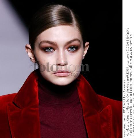 Mandatory Credit: Photo by Ovidiu Hrubaru/REX/Shutterstock (10096149k) Gigi Hadid on the catwalk Tom Ford show, Runway, Fall Winter 2019, New York Fashion Week, USA - 06 Feb 2019