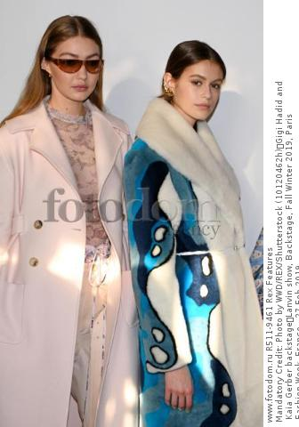 Mandatory Credit: Photo by WWD/REX/Shutterstock (10120462h) Gigi Hadid and Kaia Gerber backstage Lanvin show, Backstage, Fall Winter 2019, Paris Fashion Week, France - 27 Feb 2019