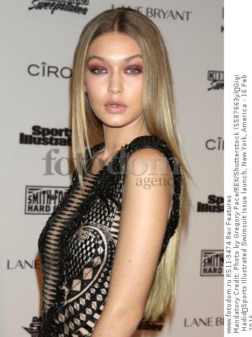 Mandatory Credit: Photo by Gregory Pace/REX/Shutterstock (5587663y) Gigi Hadid Sports Illustrated Swimsuit Issue launch, New York, America - 16 Feb 2016