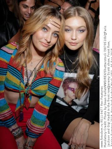 Mandatory Credit: Photo by Swan Gallet/WWD/REX/Shutterstock (9870510b) Paris Jackson and Gigi Hadid in the front row Jeremy Scott show, Front Row, Spring Summer 2019, New York Fashion Week, USA - 06 Sep 2018