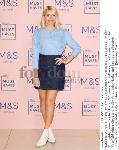 Mandatory Credit: Photo by James Veysey/REX/Shutterstock (10119091j) Holly Willoughby launches her Marks & Spencer Must-Haves, The Denim Edit at the Westfield White City store Holly Willoughby Marks and Spencer collection launch, Westfield, White City, London, UK - 25 Feb 2019 Wearing Marks & Spencer, High-Street Brand
