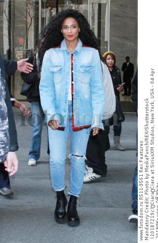 Mandatory Credit: Photo by MediaPunch/REX/Shutterstock (10187219c) Ciara Ciara at SiriusXM Studios, New York, USA - 04 Apr 2019 Wearing Off-White