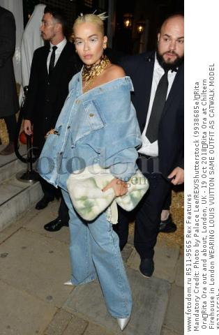 Mandatory Credit: Photo by Palace Lee/REX/Shutterstock (9938685e) Rita Ora Rita Ora out and about, London, UK - 19 Oct 2018 Rita Ora at Chiltern Firehouse in London WEARING LOUIS VUITTON SAME OUTFIT AS CATWALK MODEL *9721652bc