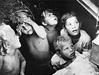 Soviet children in an air raid shelter during a na