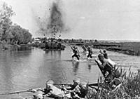 World war 2, soviet infantry crosing a river in Uk
