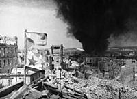 World war 2, siege of sevastopol, soviet flags on