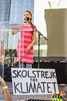 Swedish activist Greta Thunberg speaks during the