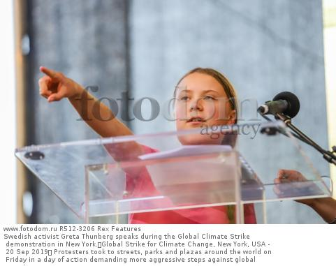 Swedish activist Greta Thunberg speaks during the Global Climate Strike demonstration in New York. Global Strike for Climate Change, New York, USA - 20 Sep 2019  Protesters took to streets, parks and plazas around the world on Friday in a day of action demanding more aggressive steps against global warming.