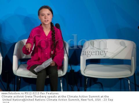Climate activist Greta Thunberg speaks at the Climate Action Summit at the United Nations United Nations Climate Action Summit, New York, USA - 23 Sep 2019