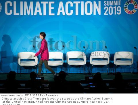 Climate activist Greta Thunberg leaves the stage at the Climate Action Summit at the United Nations United Nations Climate Action Summit, New York, USA - 23 Sep 2019