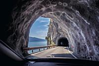 Lake Garda (shore road) with tunnel, Italy