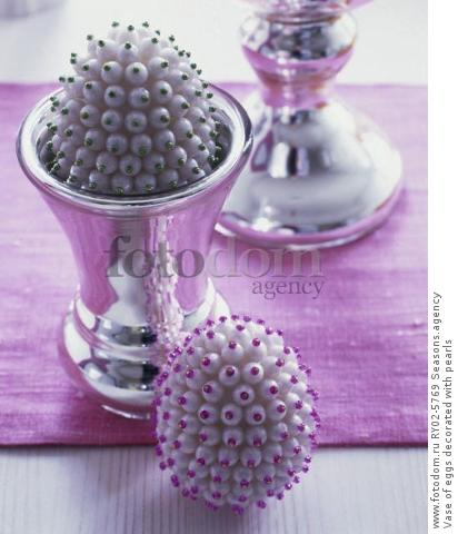 Vase of eggs decorated with pearls