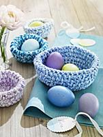 Crocheted Easter baskets filled with eggs