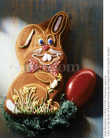 Cake in the form of Easter bunny decorated with icing for Easter