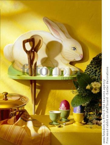 Pine wood rabbit on shelf board - Easter decorations