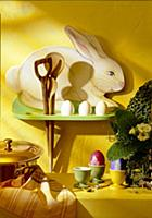 Pine wood rabbit on shelf board - Easter decoratio