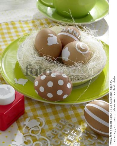 Easter eggs in nest of straw on breakfast plate