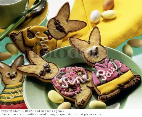 Easter decoration with colorful bunny shaped short crust place cards