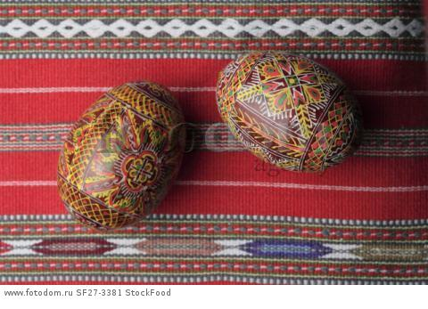 Elaborately painted Easter eggs