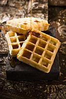 Waffles with golden syrup