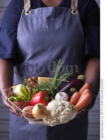 Woman holding a basket with fresh ingredients