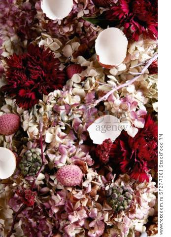 An arrangement of pink shades made from flowers, lychees and egg shells (full frame)