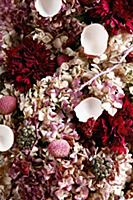 An arrangement of pink shades made from flowers, l