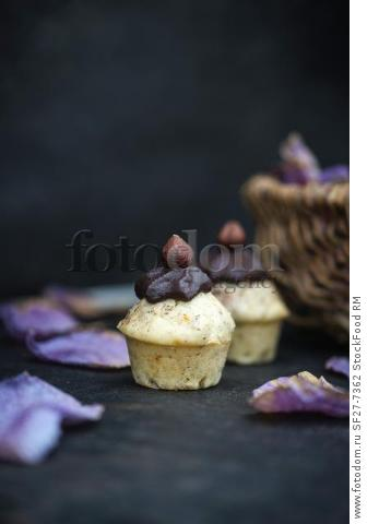 Mini vegan muffins with hazelnuts and chocolate cream