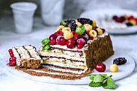 Cake from multi-colored cookies and berries