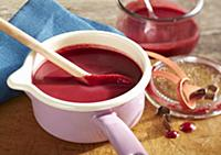 Beetroot soup with horseradish and apple in a sauc