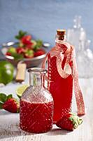 Homemade strawberry and lime syrup