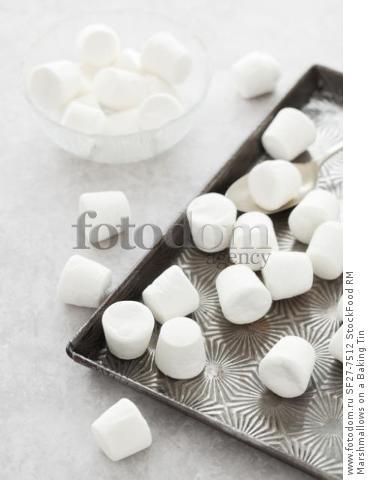 Marshmallows on a Baking Tin