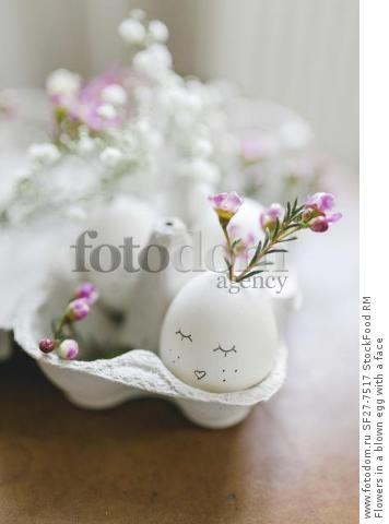 Flowers in a blown egg with a face