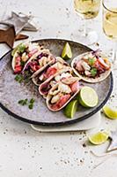 Fish tacos with pickeld radish