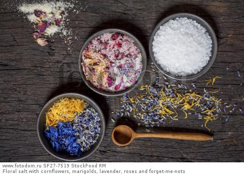 Floral salt with cornflowers, marigolds, lavender, roses and forget-me-nots