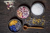 Floral salt with cornflowers, marigolds, lavender,