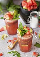 Watermelon Juice Drink with Lime and Mint