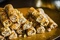 Baklava rolls with pistachio nuts for an Easter hi