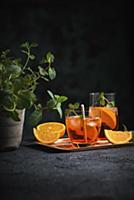 Aperol Spritz (a cocktail of bitter orange liqueur