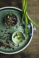 Herb tea leaves with scilla flowers on rustic back