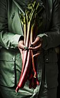 Women holding rhubarb