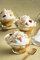 Peach and passionfruit cheesecake trifles