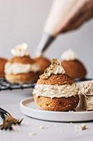 Halva choux puffs with craquelin topping