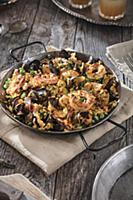 Spanish paella in a pan