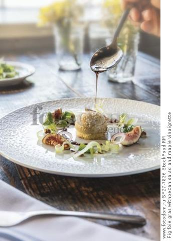Fig foie gras withpecan salad and maple vinaigrette