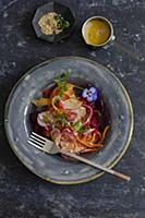 Carrot ribbon salad with miso sauce