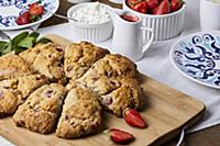 Strawberry scones served with cottage cheese and s